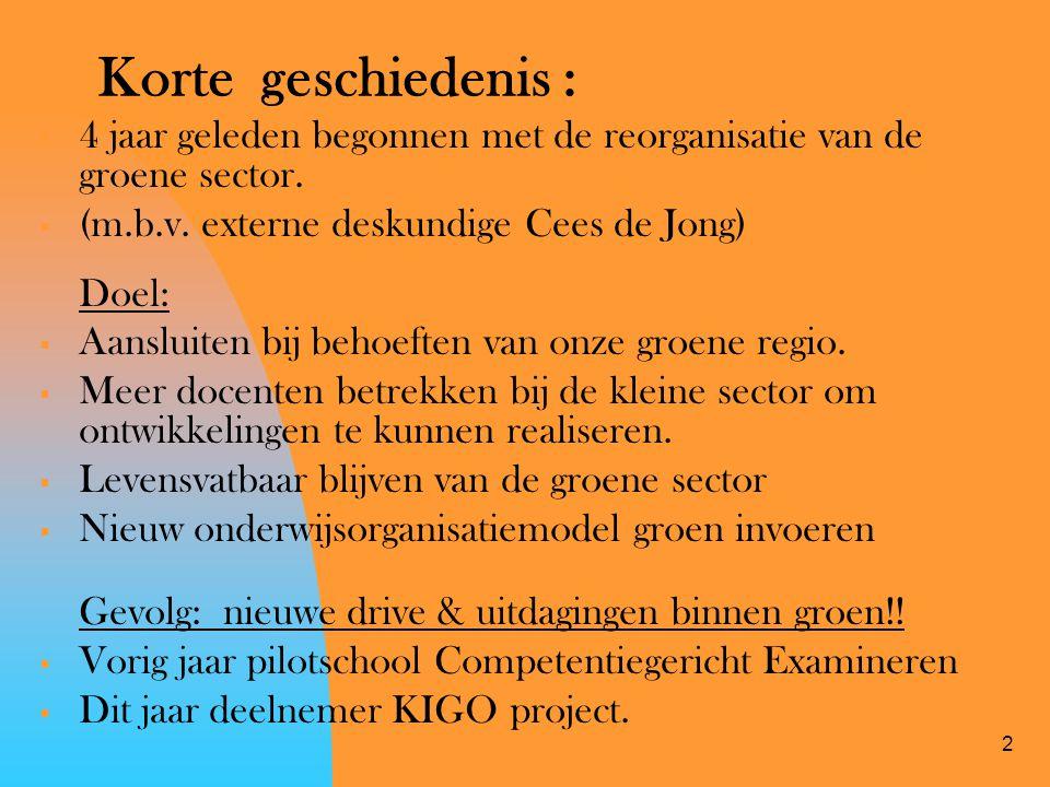 Korte geschiedenis : 4 jaar geleden begonnen met de reorganisatie van de groene sector. (m.b.v. externe deskundige Cees de Jong)