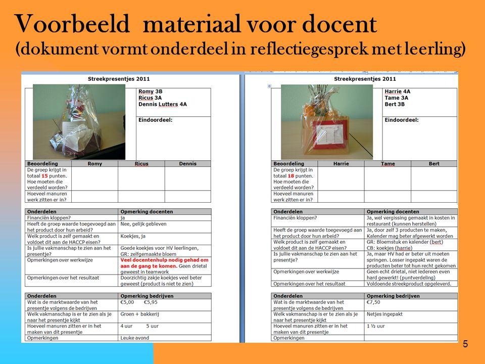 Voorbeeld materiaal voor docent (dokument vormt onderdeel in reflectiegesprek met leerling)