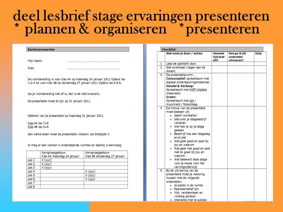 deel lesbrief stage ervaringen presenteren. plannen & organiseren