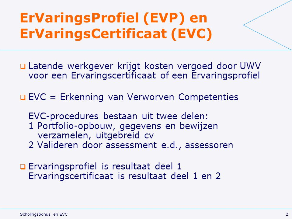 ErVaringsProfiel (EVP) en ErVaringsCertificaat (EVC)