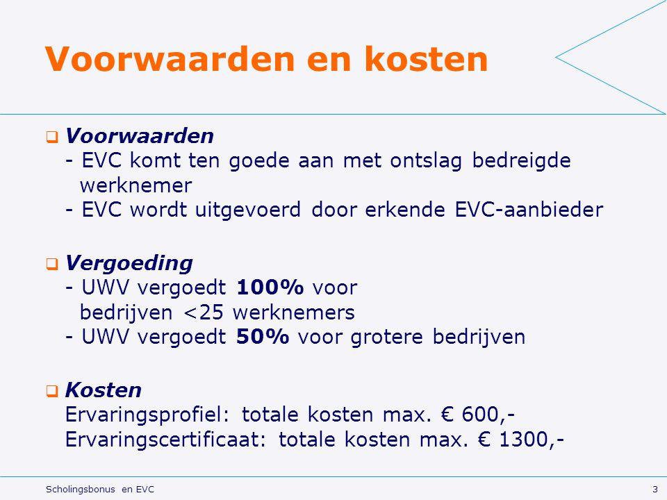 Voorwaarden en kosten Voorwaarden - EVC komt ten goede aan met ontslag bedreigde werknemer - EVC wordt uitgevoerd door erkende EVC-aanbieder.