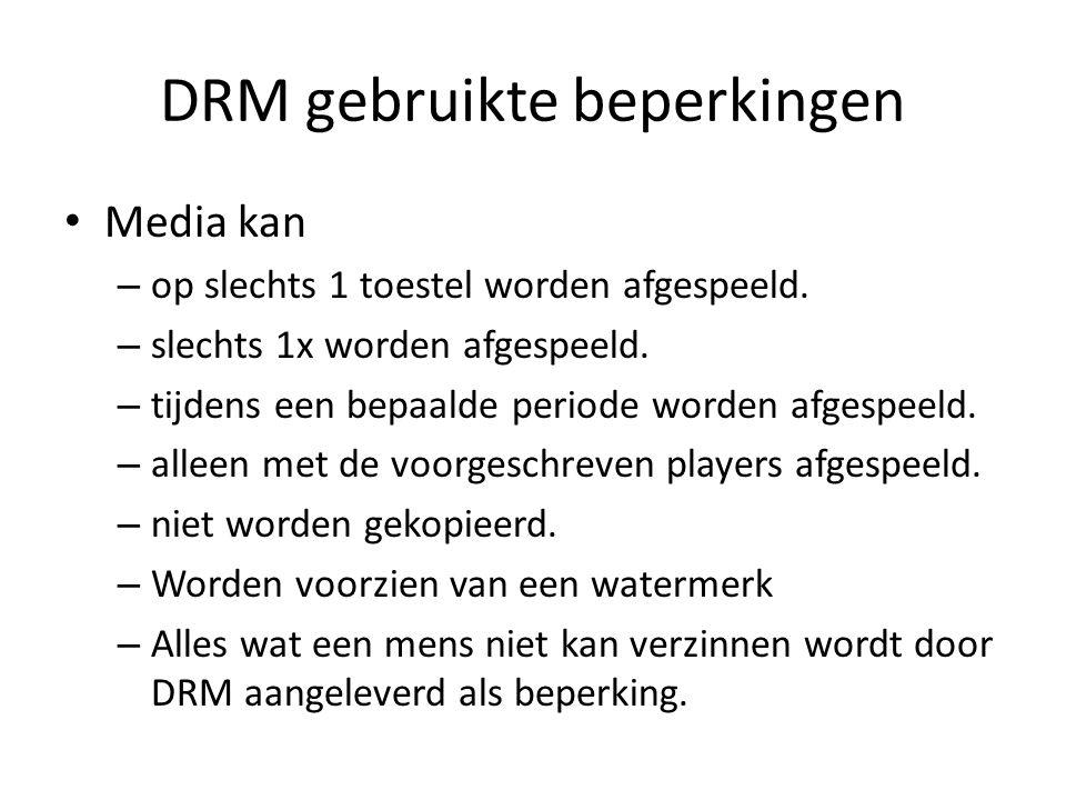 DRM gebruikte beperkingen