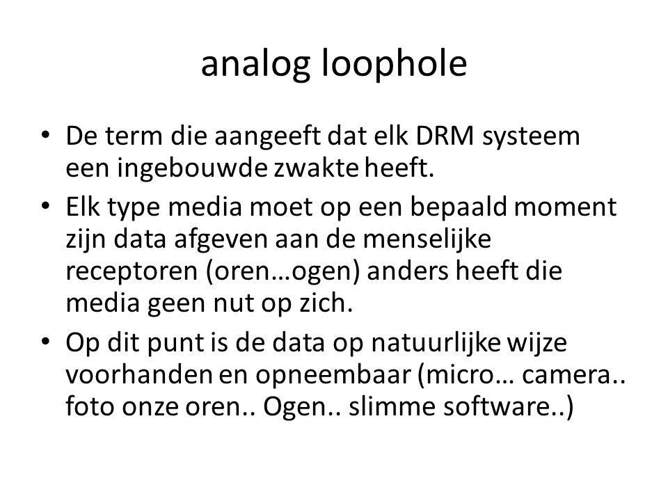 analog loophole De term die aangeeft dat elk DRM systeem een ingebouwde zwakte heeft.