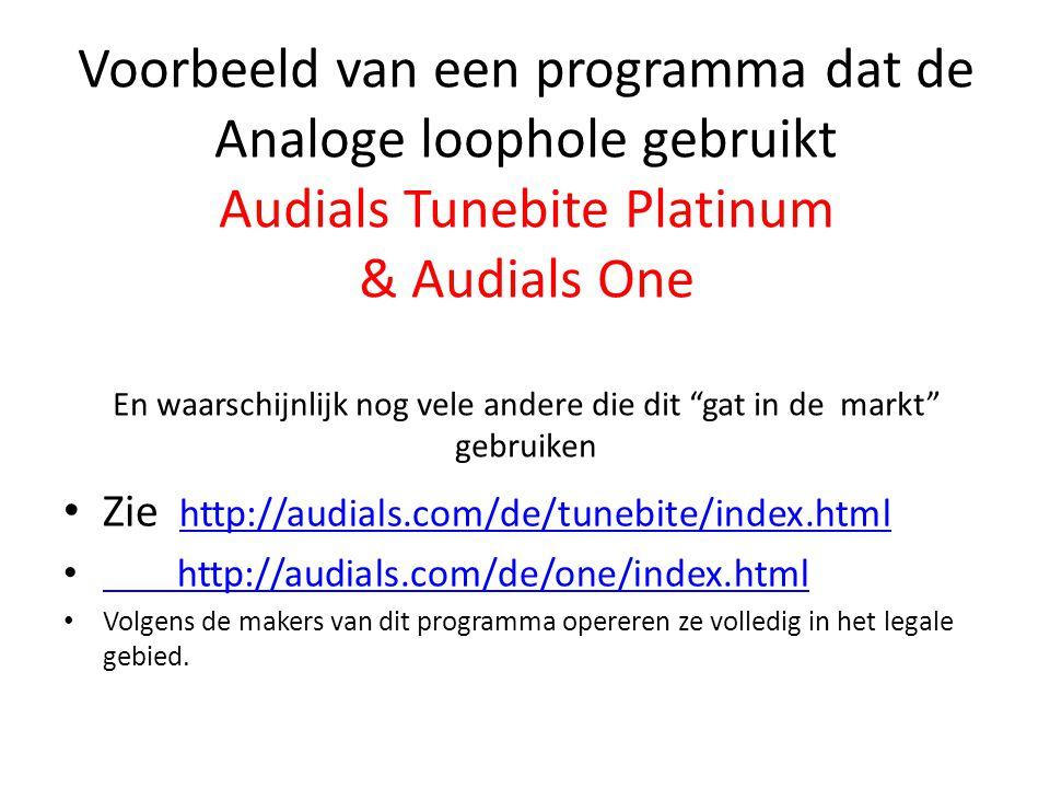 Voorbeeld van een programma dat de Analoge loophole gebruikt Audials Tunebite Platinum & Audials One En waarschijnlijk nog vele andere die dit gat in de markt gebruiken
