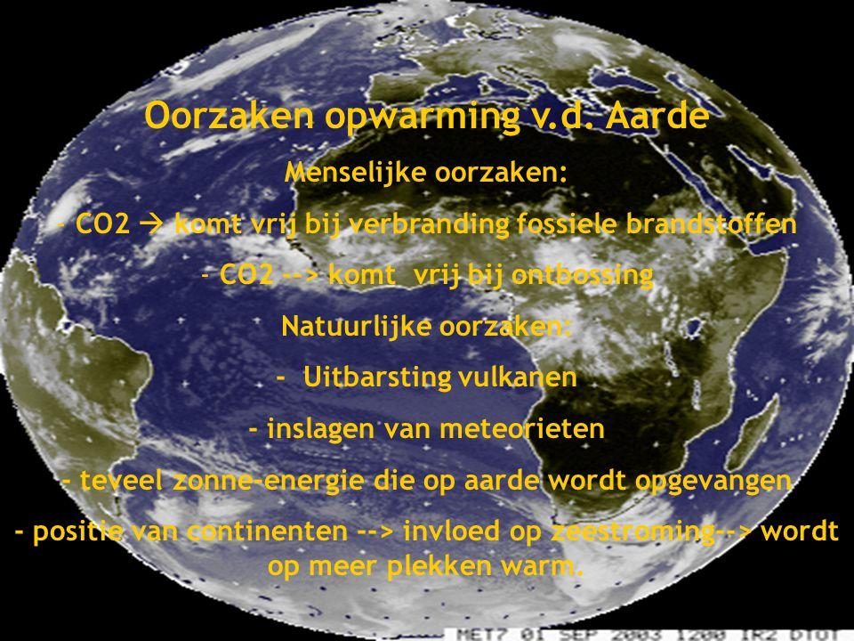 Global Warming Oorzaken opwarming v.d. Aarde Gemaakt door: