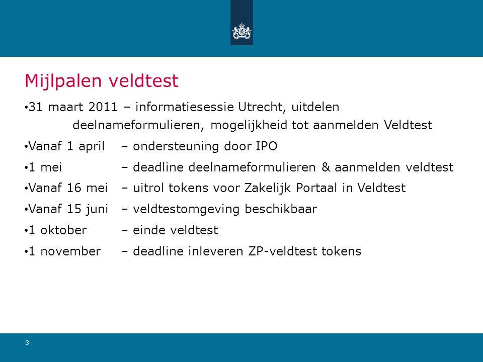 Mijlpalen veldtest 31 maart 2011 – informatiesessie Utrecht, uitdelen deelnameformulieren, mogelijkheid tot aanmelden Veldtest.