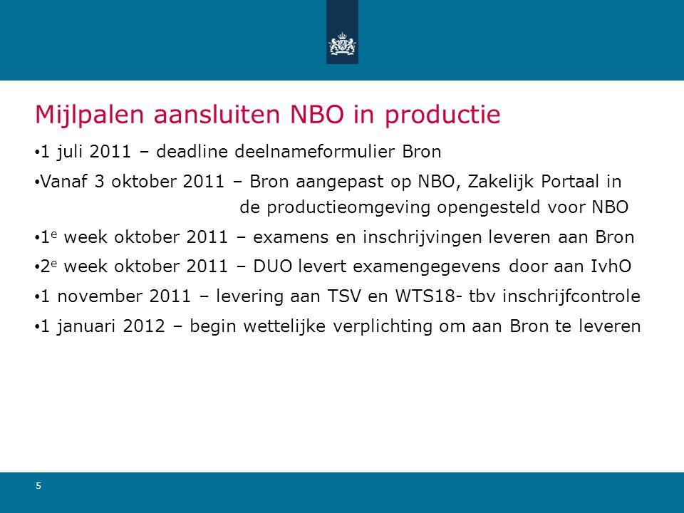 Mijlpalen aansluiten NBO in productie