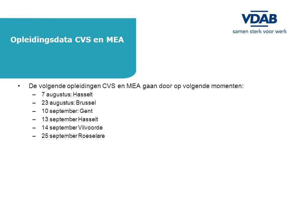 Opleidingsdata CVS en MEA
