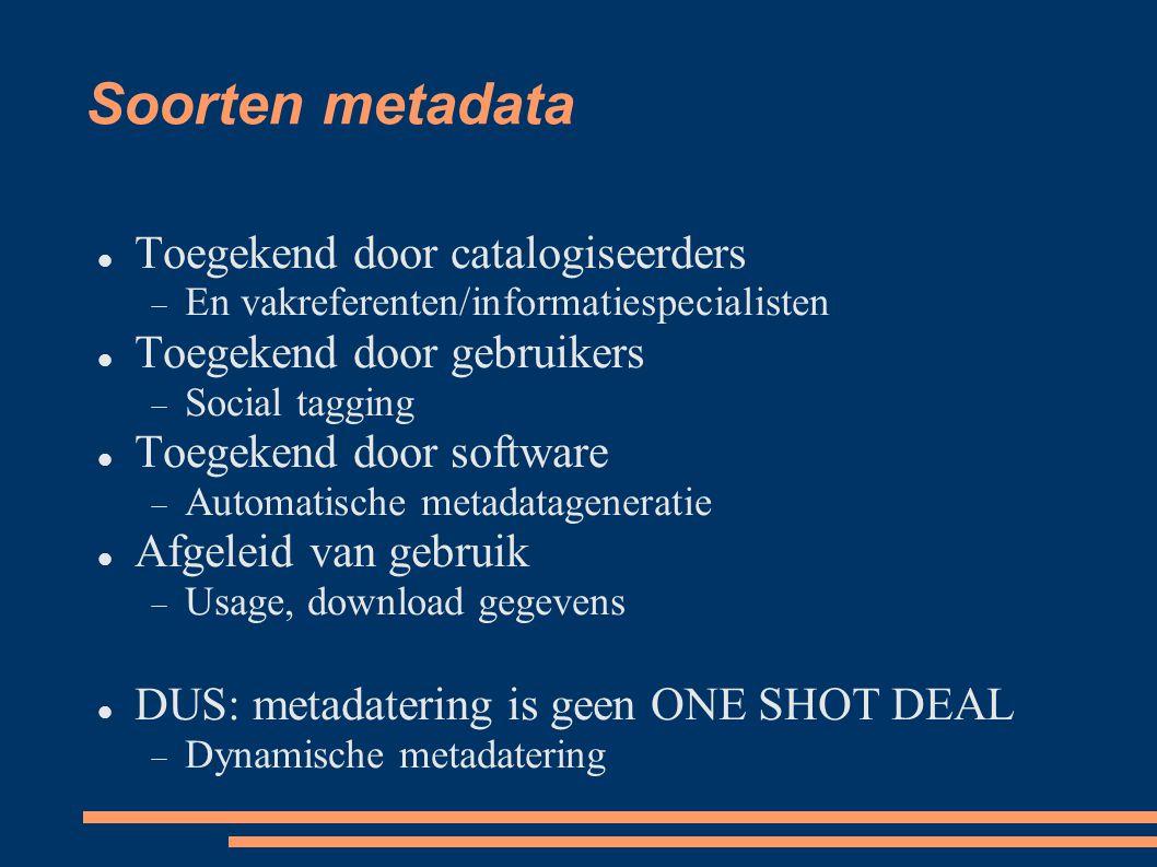 Soorten metadata Toegekend door catalogiseerders
