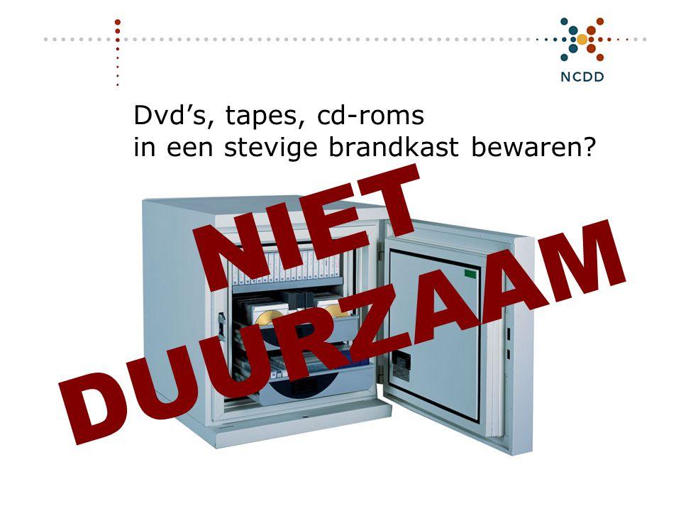 Dvd's, tapes, cd-roms in een stevige brandkast bewaren