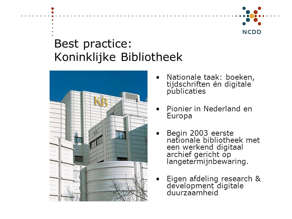 Best practice: Koninklijke Bibliotheek