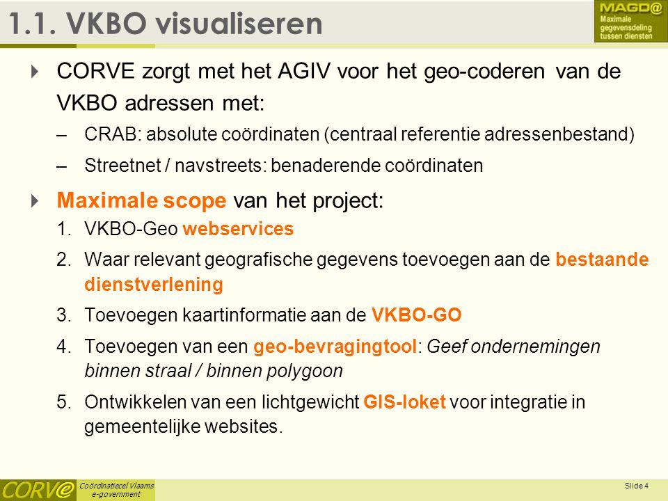 1.1. VKBO visualiseren April 3, 2017. CORVE zorgt met het AGIV voor het geo-coderen van de VKBO adressen met: