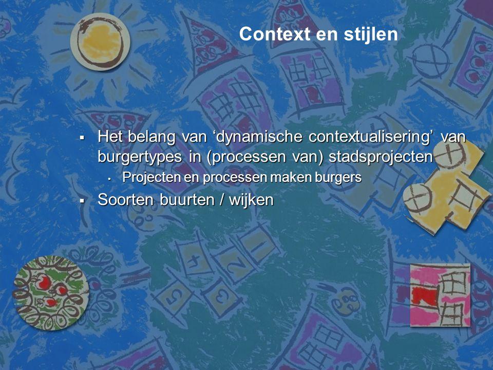 Context en stijlen Het belang van 'dynamische contextualisering' van burgertypes in (processen van) stadsprojecten.