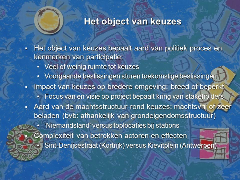 Het object van keuzes Het object van keuzes bepaalt aard van politiek proces en kenmerken van participatie: