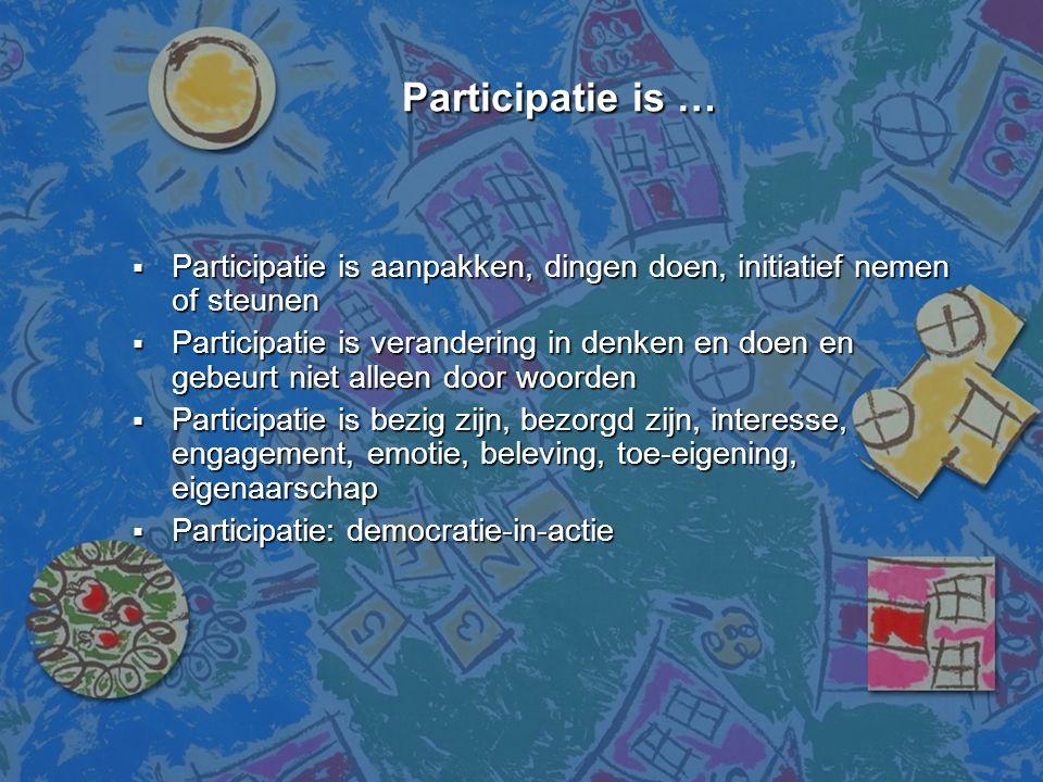 Participatie is … Participatie is aanpakken, dingen doen, initiatief nemen of steunen.