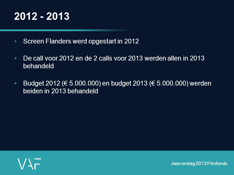 2012 - 2013 Screen Flanders werd opgestart in 2012