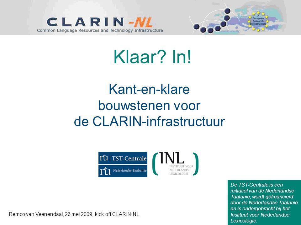 Kant-en-klare bouwstenen voor de CLARIN-infrastructuur