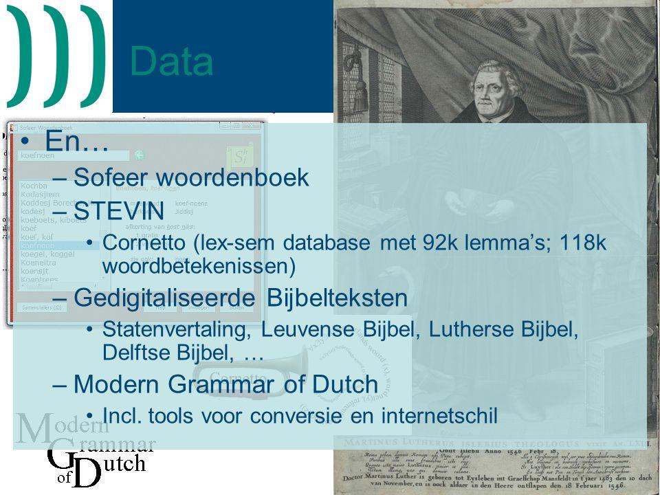 Data En… Sofeer woordenboek STEVIN Gedigitaliseerde Bijbelteksten