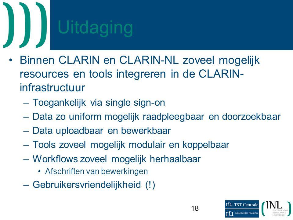 Uitdaging Binnen CLARIN en CLARIN-NL zoveel mogelijk resources en tools integreren in de CLARIN-infrastructuur.