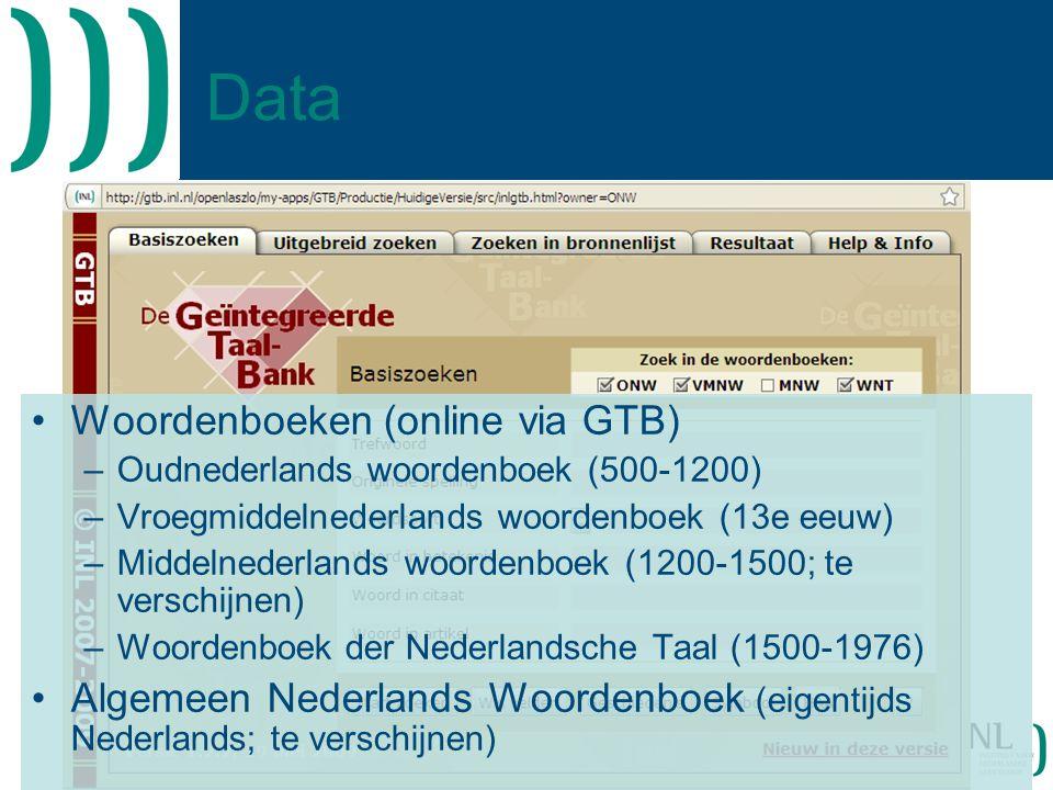 Data Woordenboeken (online via GTB)