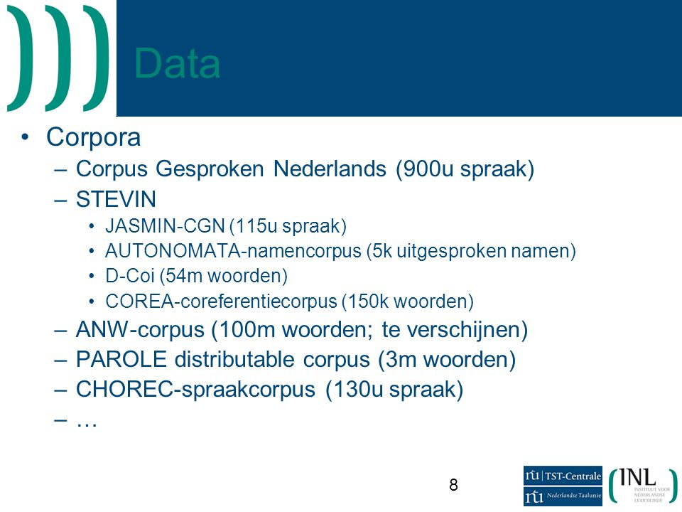 Data Corpora Corpus Gesproken Nederlands (900u spraak) STEVIN