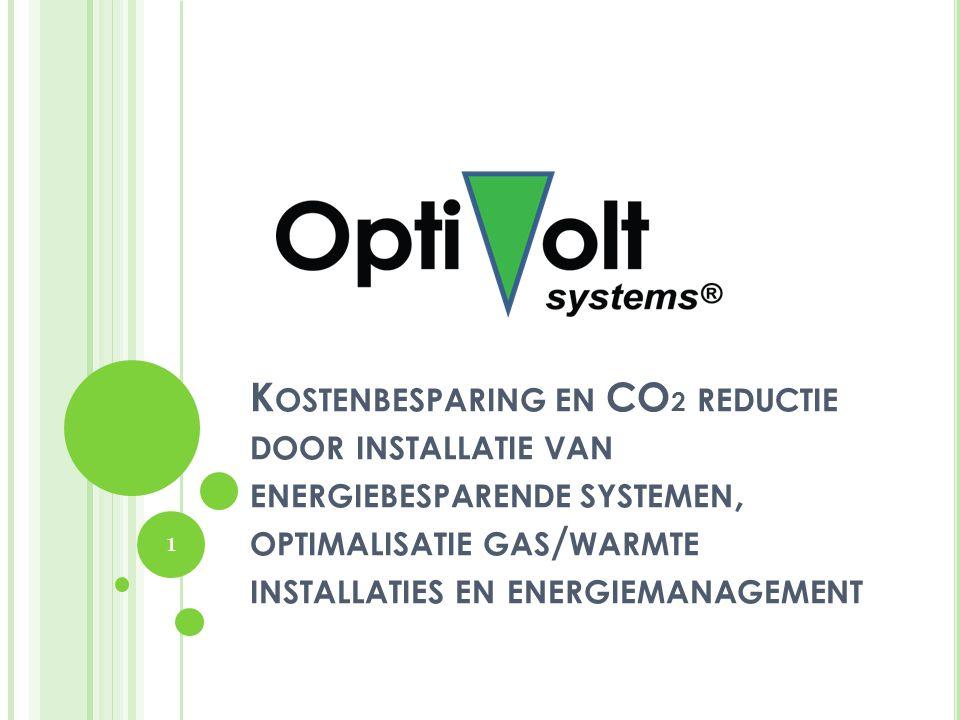 Kostenbesparing en CO2 reductie door installatie van energiebesparende systemen, optimalisatie gas/warmte installaties en energiemanagement