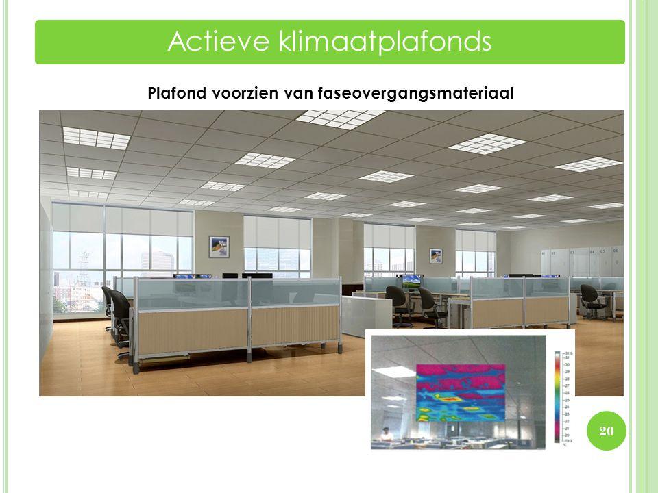 Plafond voorzien van faseovergangsmateriaal