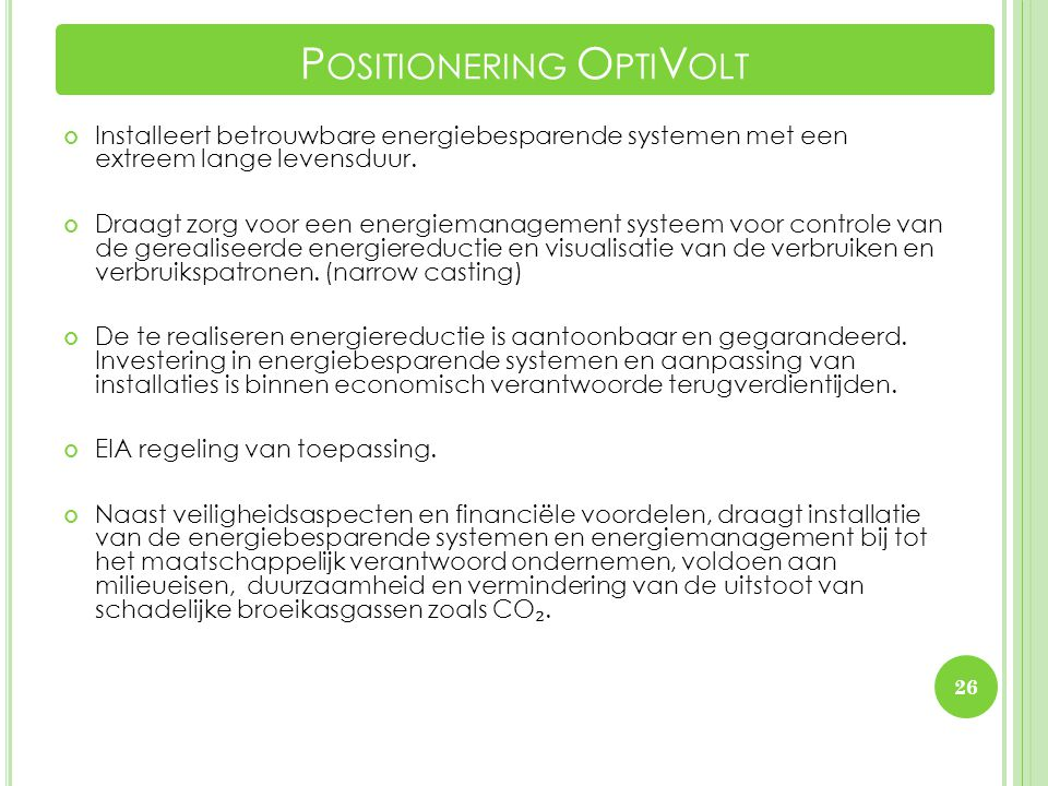 Positionering OptiVolt
