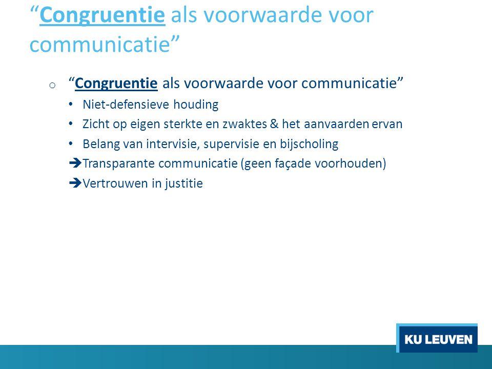 Congruentie als voorwaarde voor communicatie