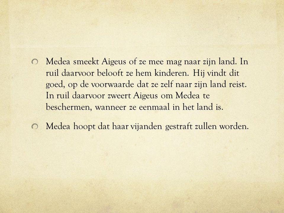 Medea smeekt Aigeus of ze mee mag naar zijn land
