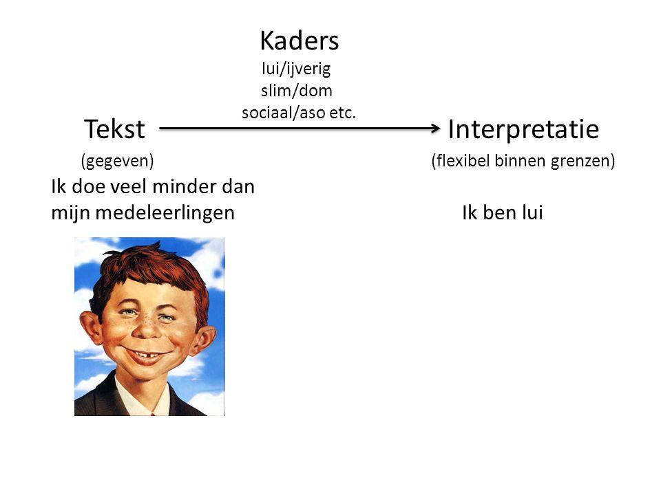 Kaders Tekst Interpretatie (gegeven) (flexibel binnen grenzen)