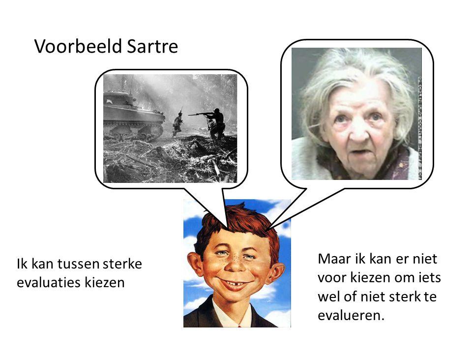 Voorbeeld Sartre Maar ik kan er niet voor kiezen om iets wel of niet sterk te evalueren.