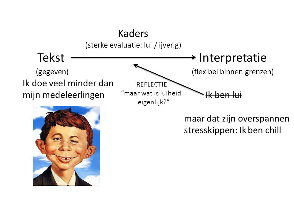 (sterke evaluatie: lui / ijverig)