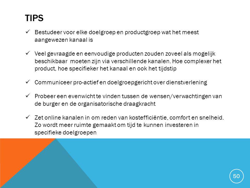TIPS Bestudeer voor elke doelgroep en productgroep wat het meest aangewezen kanaal is.