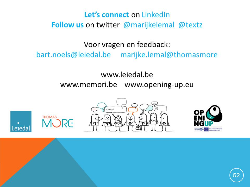 Let's connect on LinkedIn Follow us on twitter @marijkelemal @textz