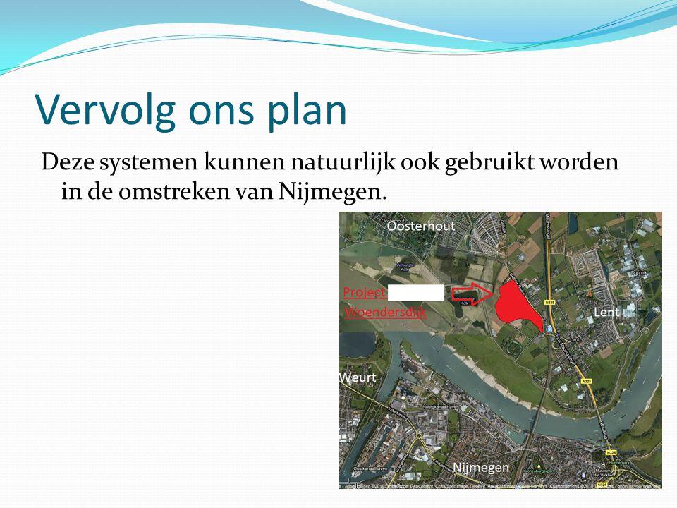 Vervolg ons plan Deze systemen kunnen natuurlijk ook gebruikt worden in de omstreken van Nijmegen.