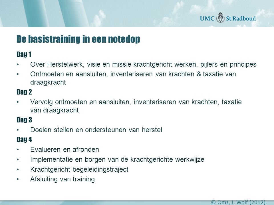 De basistraining in een notedop