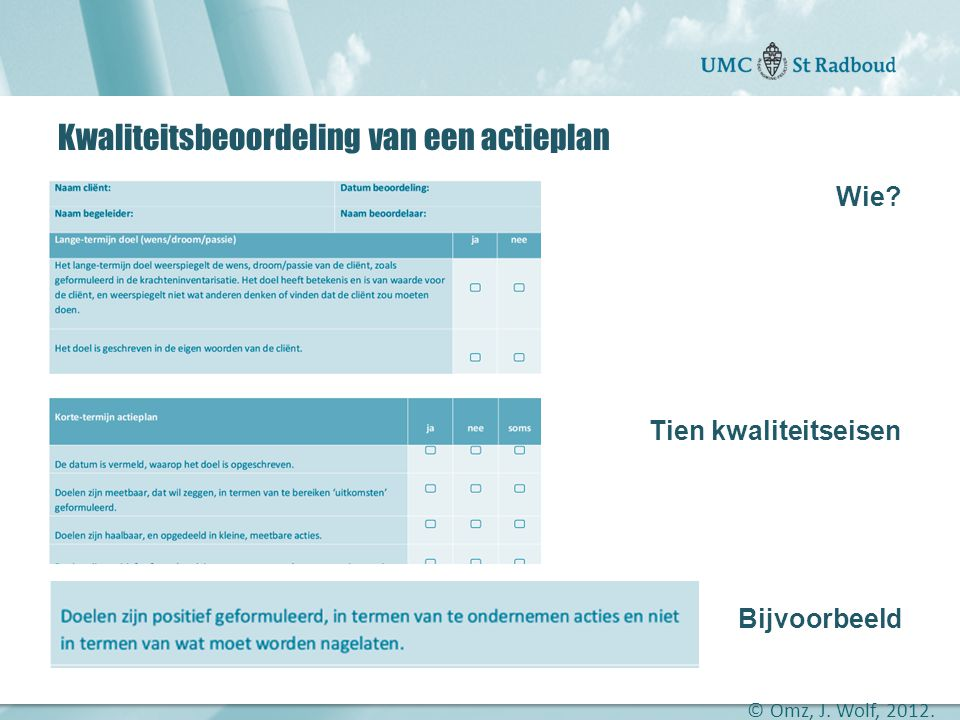 Kwaliteitsbeoordeling van een actieplan