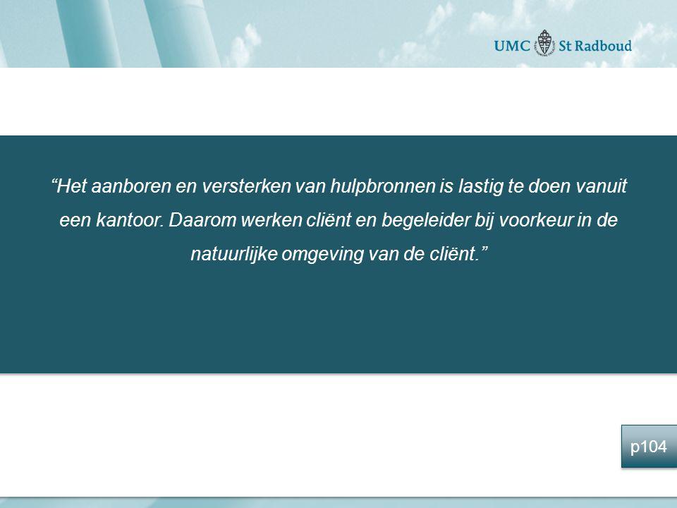 Het aanboren en versterken van hulpbronnen is lastig te doen vanuit een kantoor. Daarom werken cliënt en begeleider bij voorkeur in de natuurlijke omgeving van de cliënt.