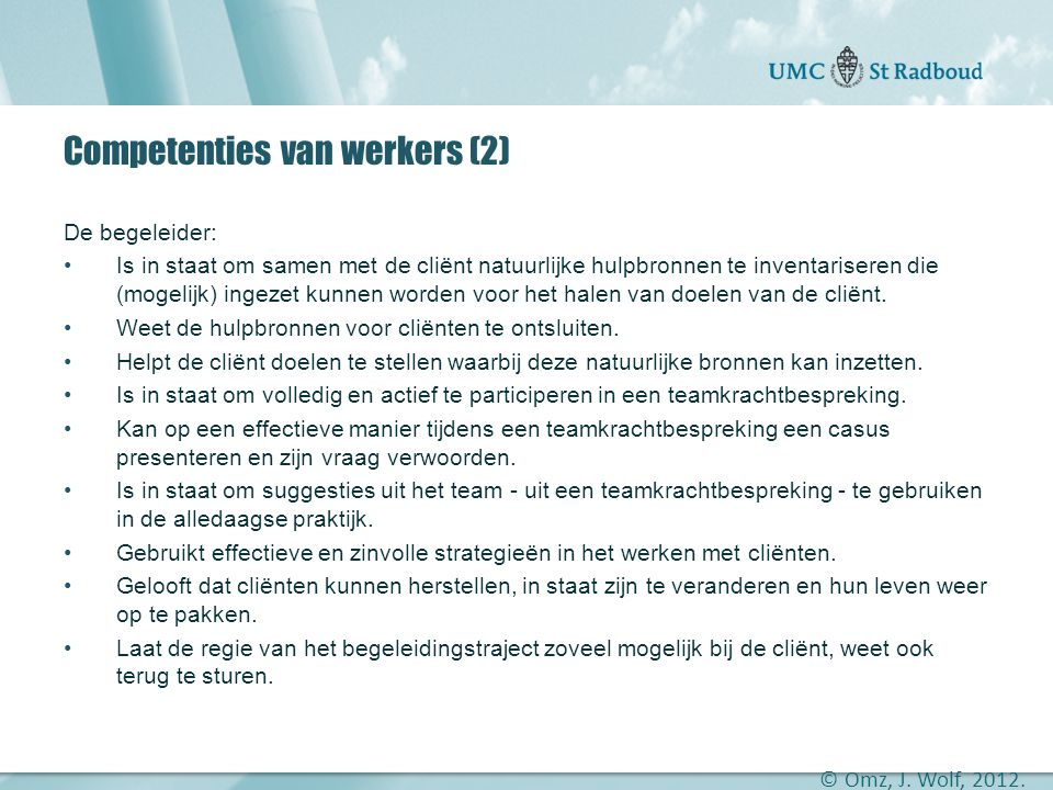 Competenties van werkers (2)