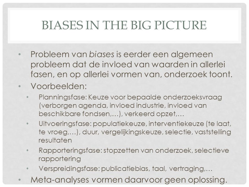 Biases in the big picture