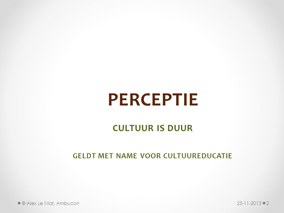 CULTUUR IS DUUR geldt met name voor cultuureducatie