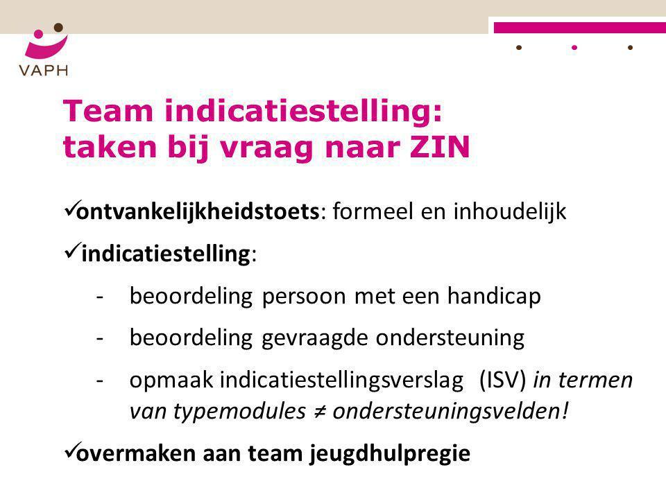 Team indicatiestelling: taken bij vraag naar ZIN