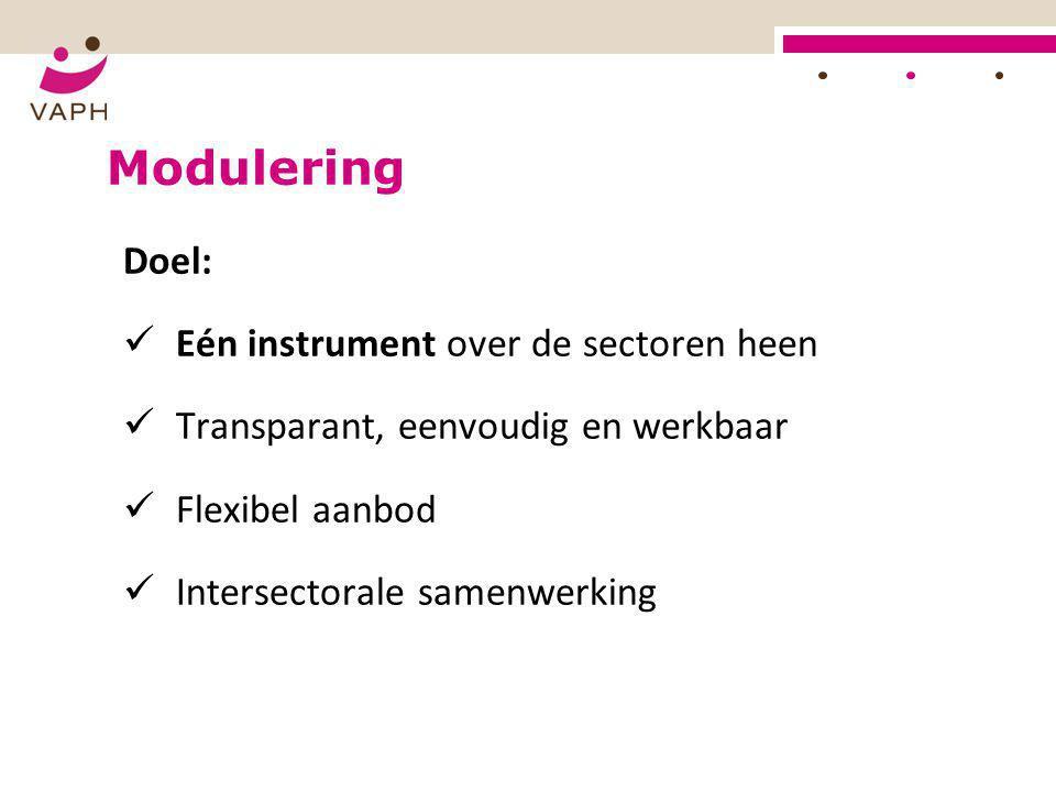 Modulering Doel: Eén instrument over de sectoren heen