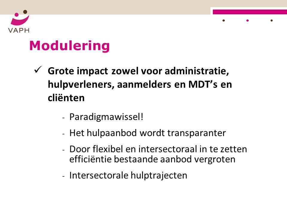 Modulering Grote impact zowel voor administratie, hulpverleners, aanmelders en MDT's en cliënten.