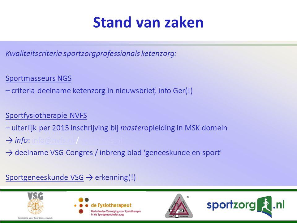 Stand van zaken Kwaliteitscriteria sportzorgprofessionals ketenzorg: