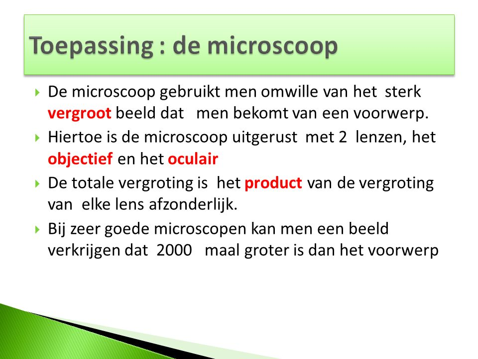 Toepassing : de microscoop