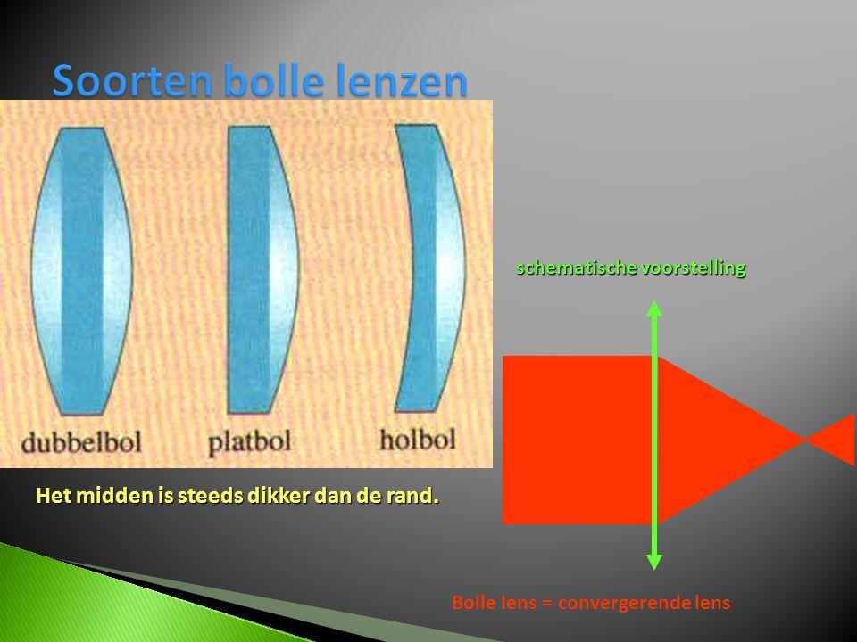 Soorten bolle lenzen Het midden is steeds dikker dan de rand.