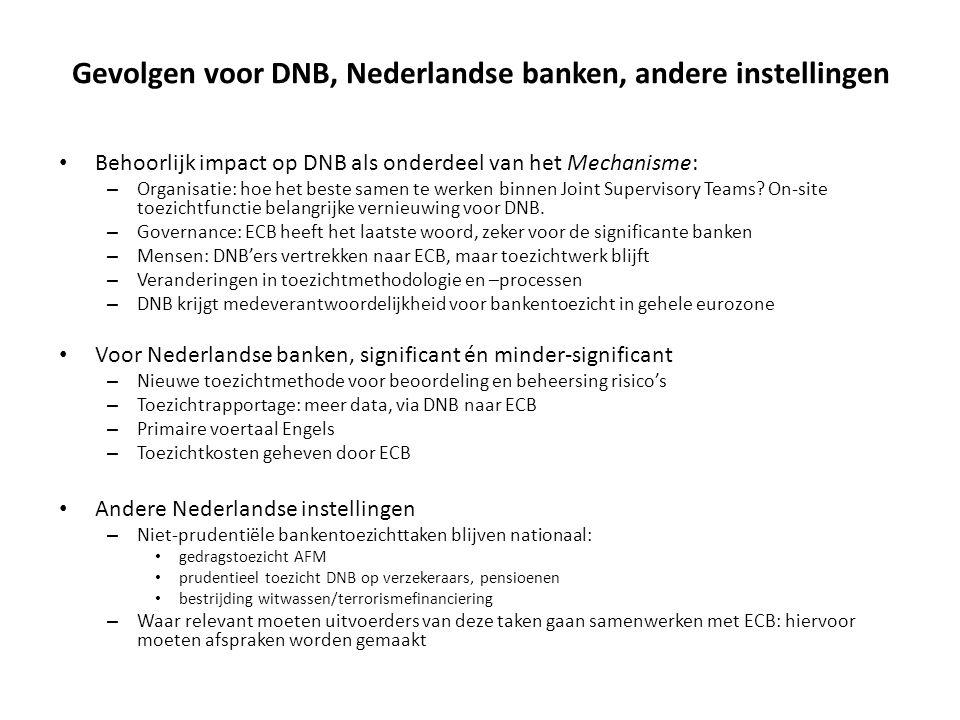 Gevolgen voor DNB, Nederlandse banken, andere instellingen