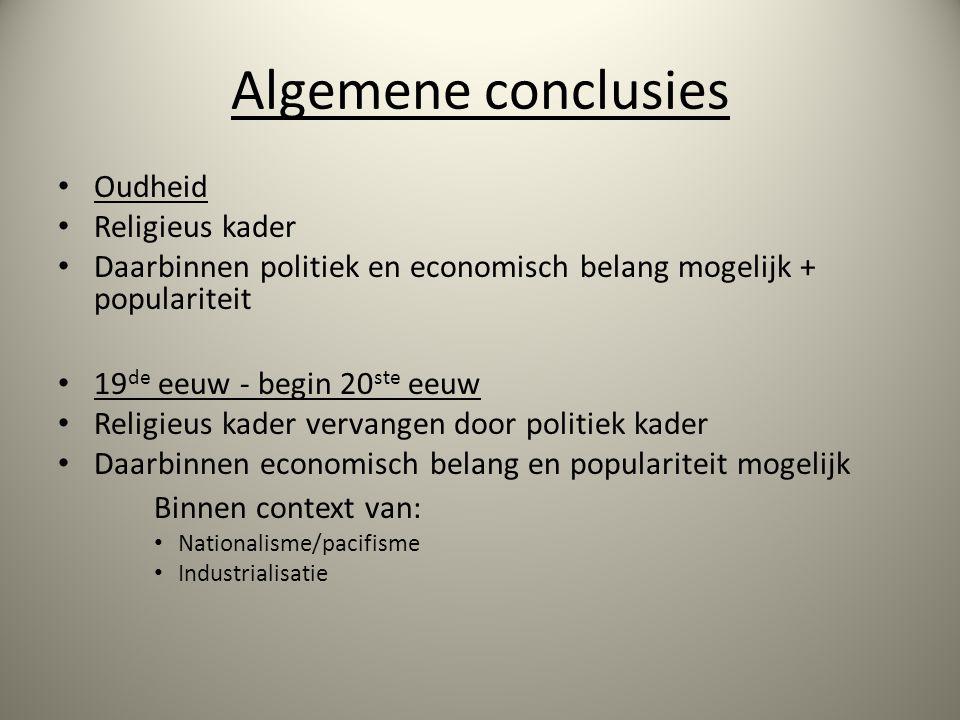 Algemene conclusies Binnen context van: Oudheid Religieus kader